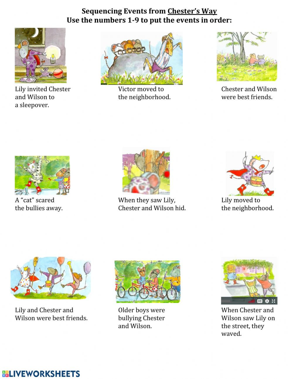 Sequencing events Worksheets Grade 6 Sequencing events From Chester S Way Interactive Worksheet