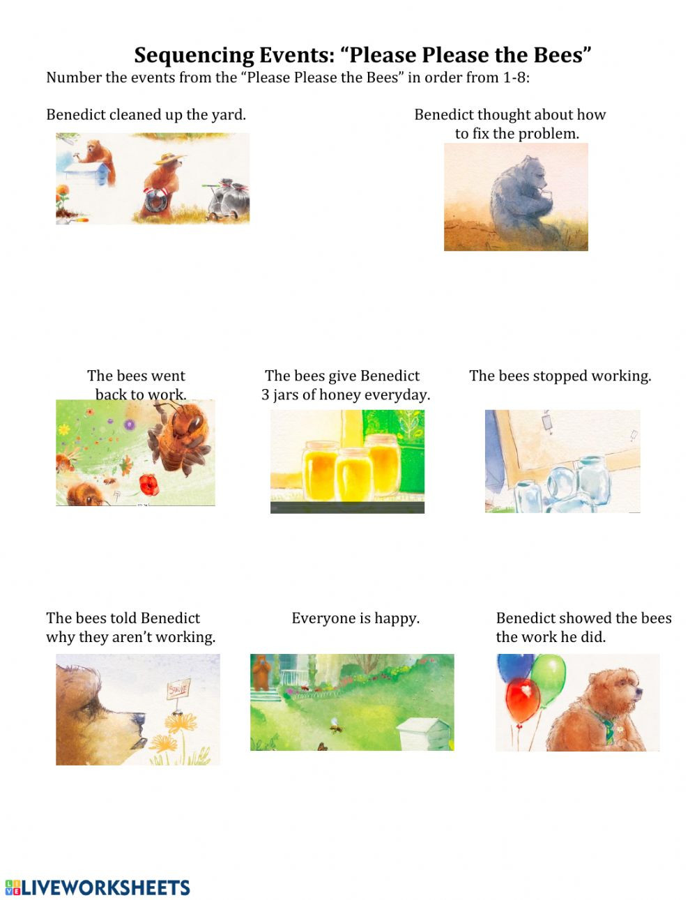 Sequencing events Worksheets Grade 6 Sequencing events Please Please the Bees Interactive Worksheet