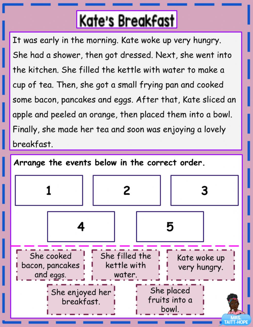 Sequencing events Worksheets Grade 6 Story Sequencing Activity Interactive Worksheet