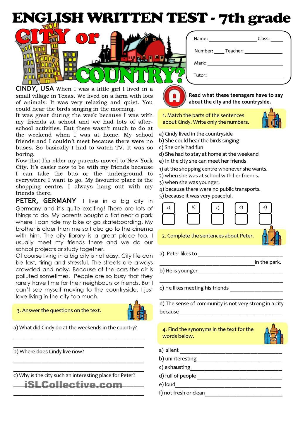 Seventh Grade Reading Comprehension Worksheets City Vs Countrylife Test 7th Grade
