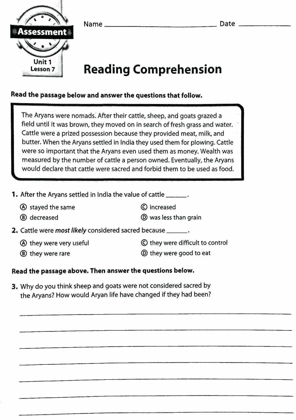 Seventh Grade Reading Comprehension Worksheets Worksheet Tremendous Reading Prehension for 2nd Graders