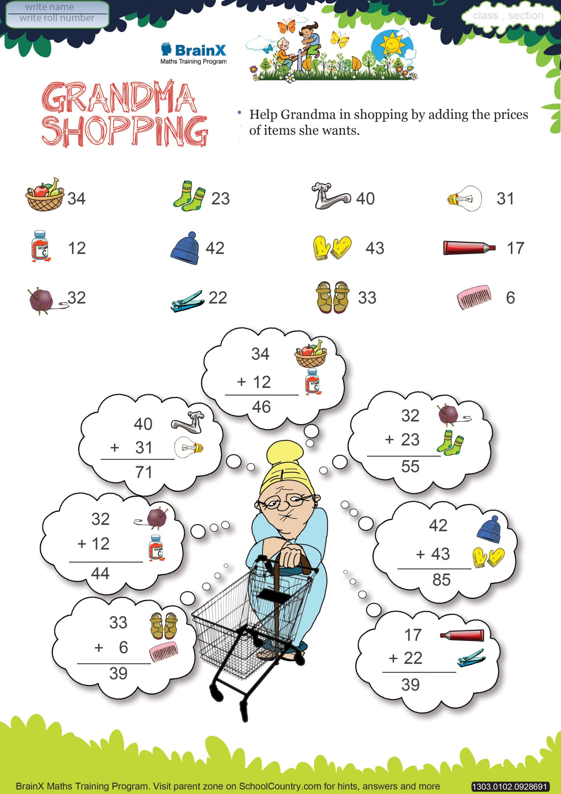 Shopping Math Worksheet Printable Addition Math Olympiad Worksheets for Kids Of