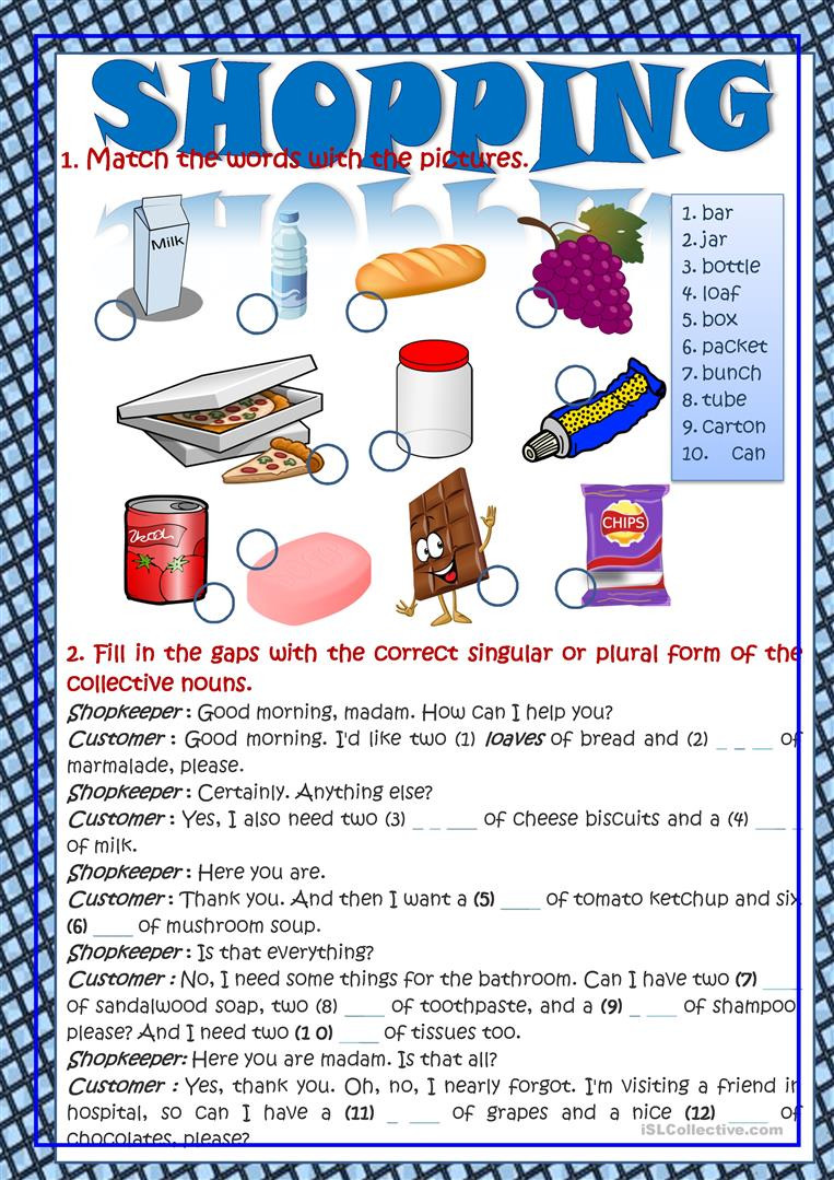 Shopping Math Worksheet Shopping Vocabulary In Context English Esl Worksheets for