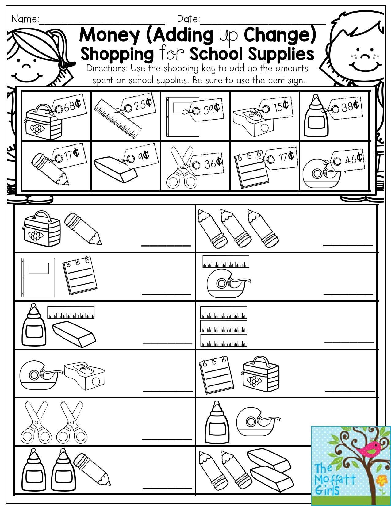 Shopping Math Worksheets Money Adding Up Change Shopping for School Supplies Fun