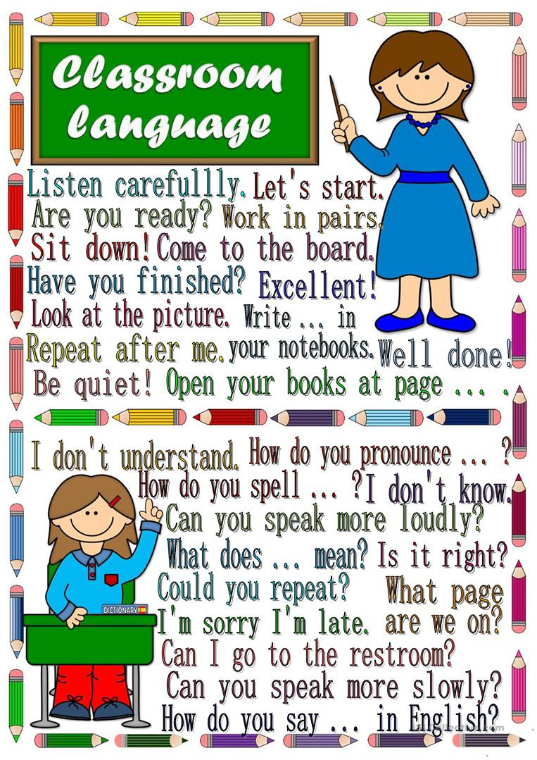 Sign Language Poster Printable Classroom Language Poster English Esl Worksheets for