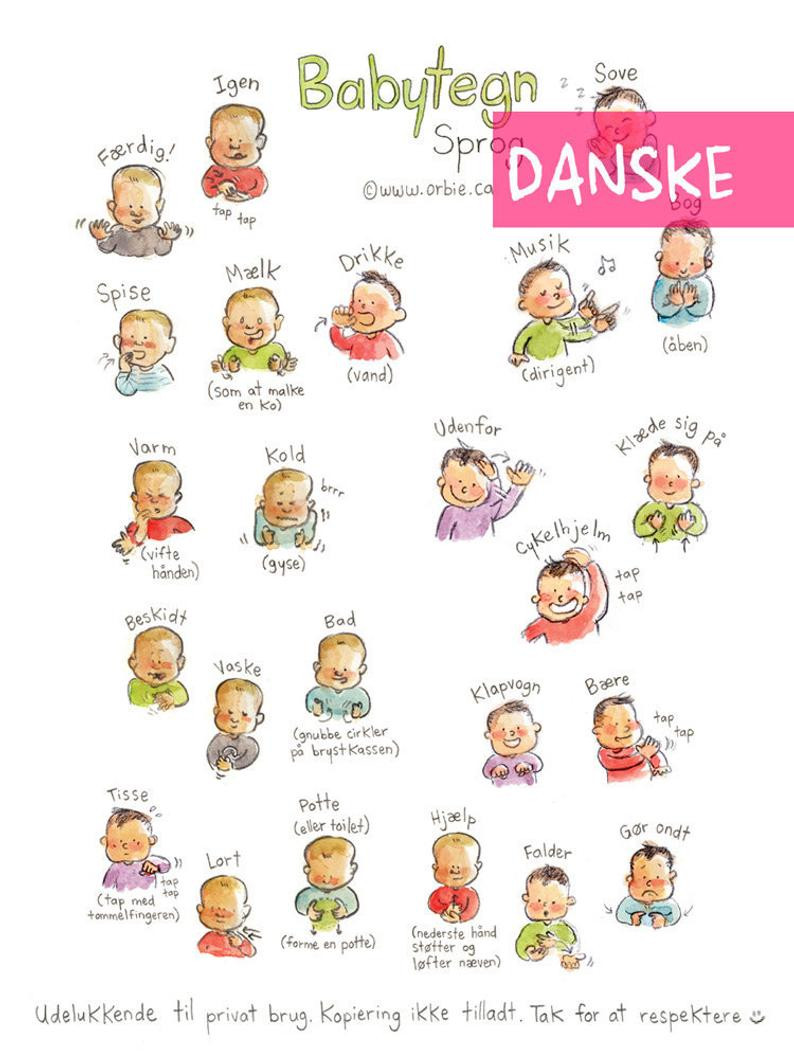 Sign Language Poster Printable Dk Baby Sign Language Poster Danish Printable Sign with Baby Munication to Print New Mom Parents T Speak Illustration A4 A3