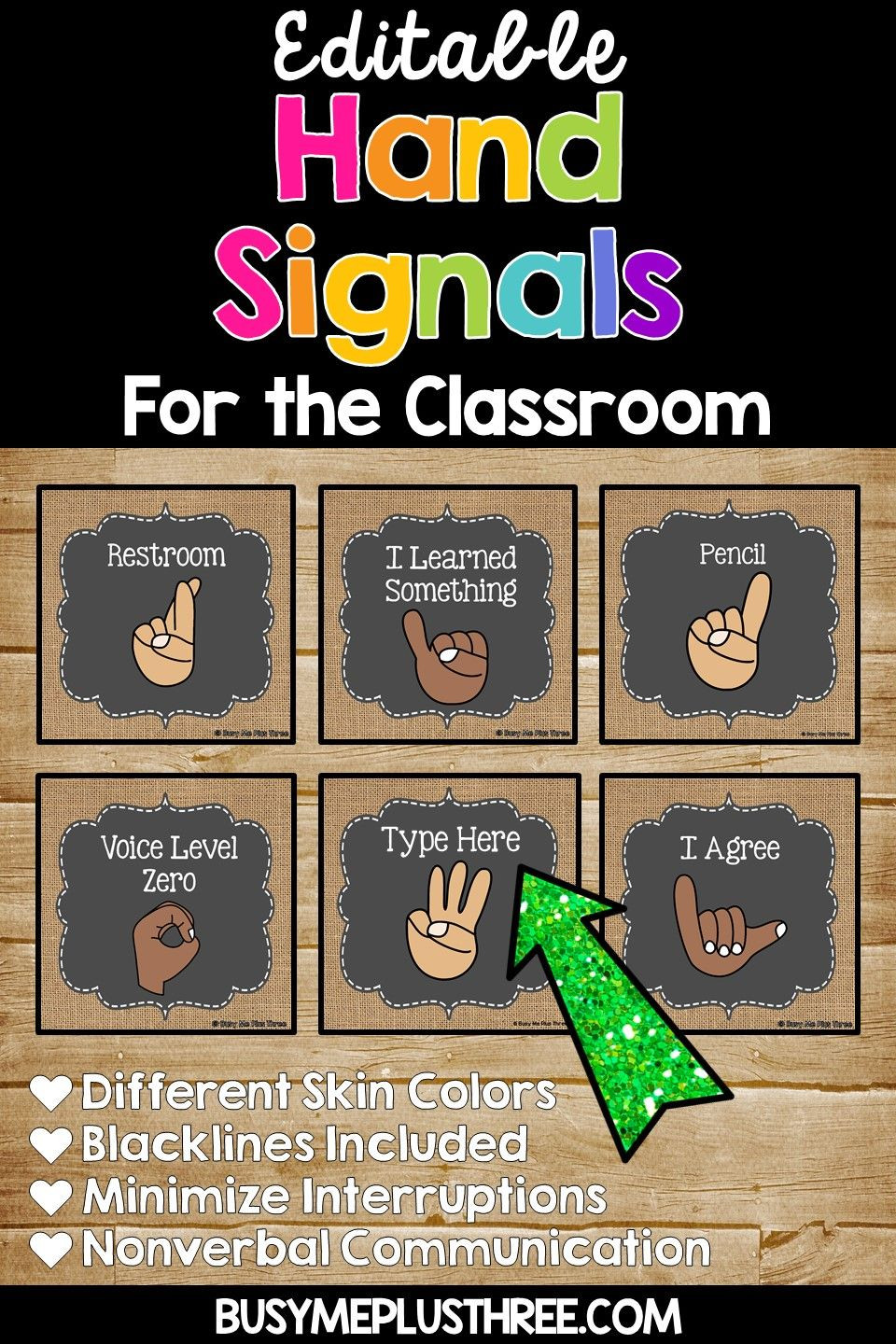 Sign Language Poster Printable Hand Signals for the Classroom Burlap & Chalkboard Signs