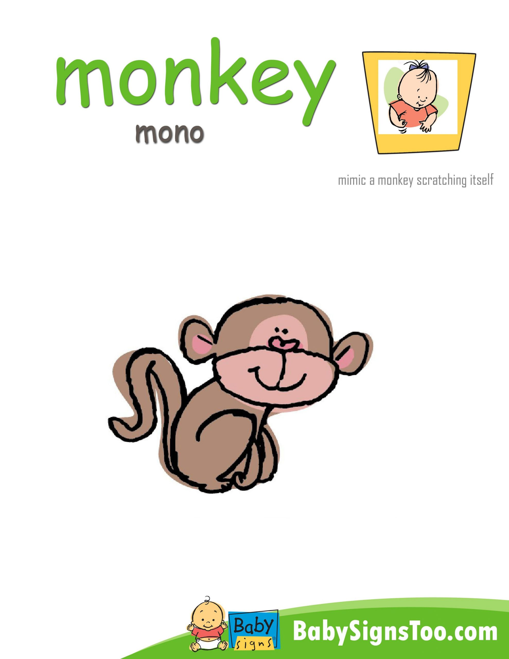 Sign Language Poster Printable Printable Poster with the asl Sign for Monkey