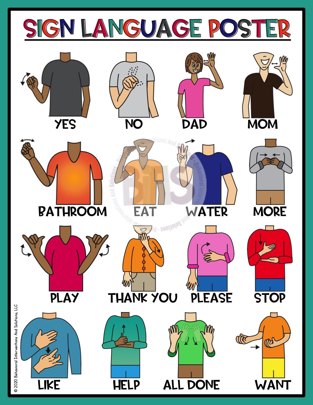 Sign Language Poster Printable Sign Language asl Posters and Reference Cue Cards