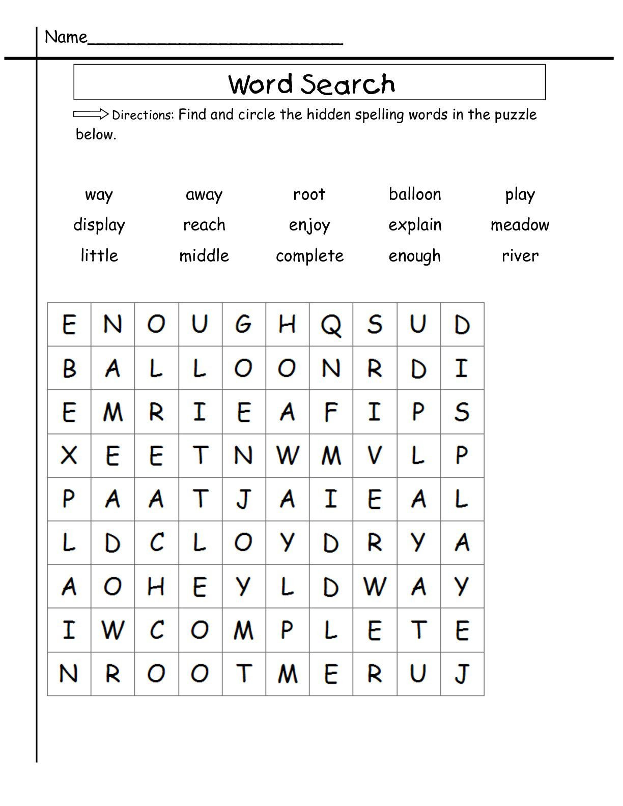 Spelling Worksheets 2nd Graders 2nd Grade Word Search Best Coloring Pages for Kids