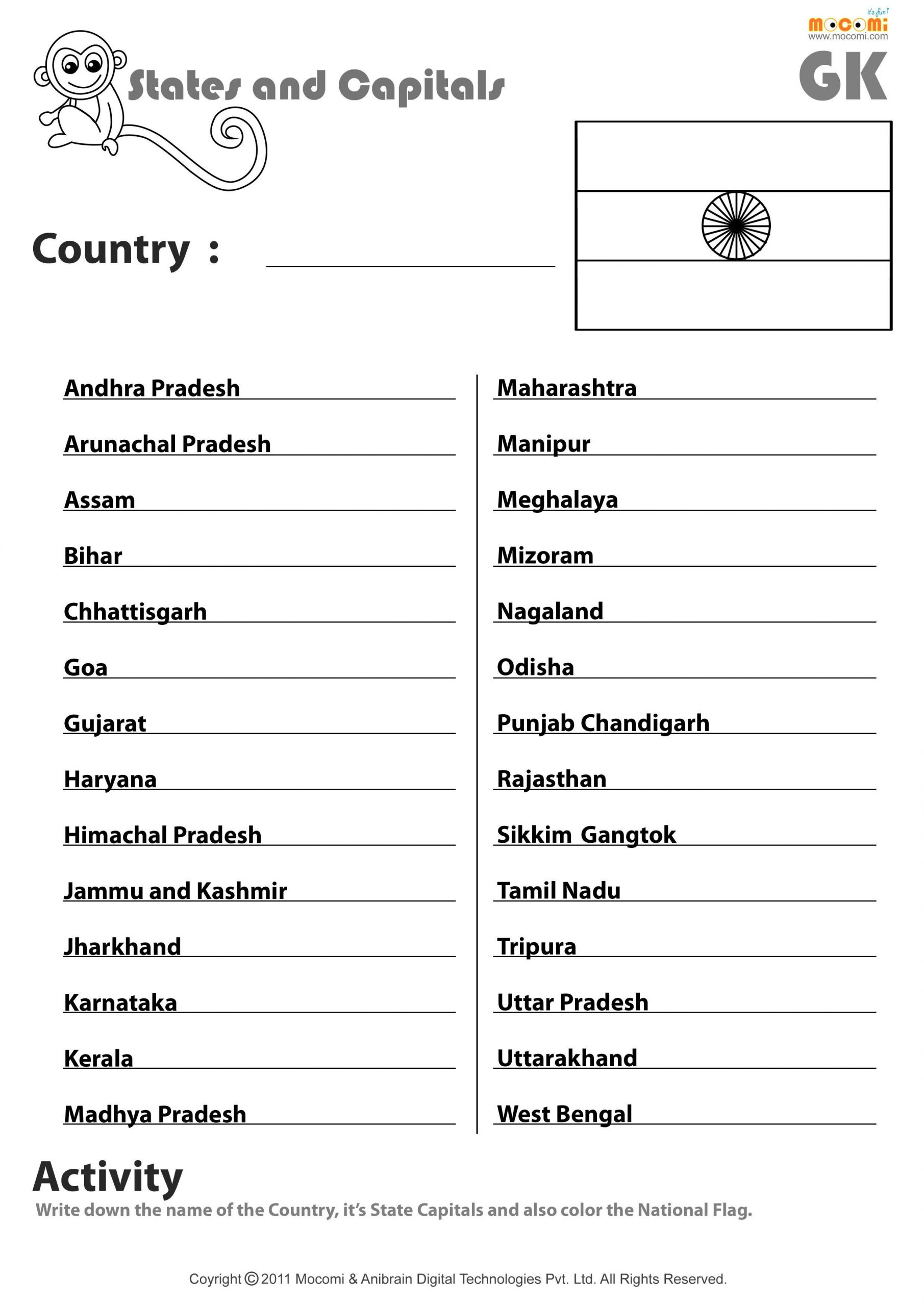 State Capitals Quiz Printable Identifying State Capitals Worksheet