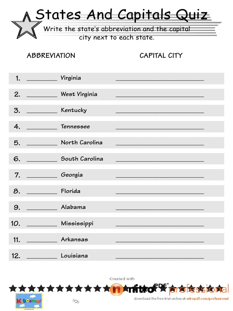 State Capitals Quiz Printable States and Capitals Worksheet