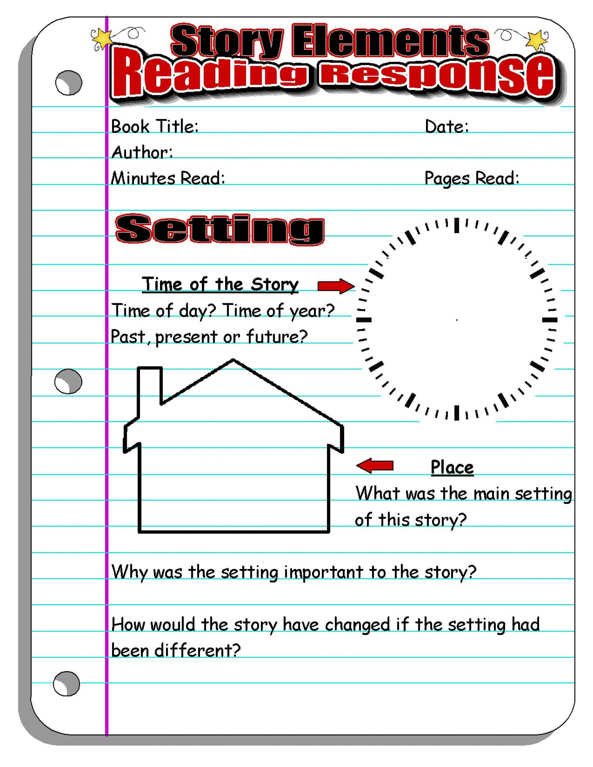 Story Elements Worksheet 5th Grade Reading Response forms and Graphic organizers