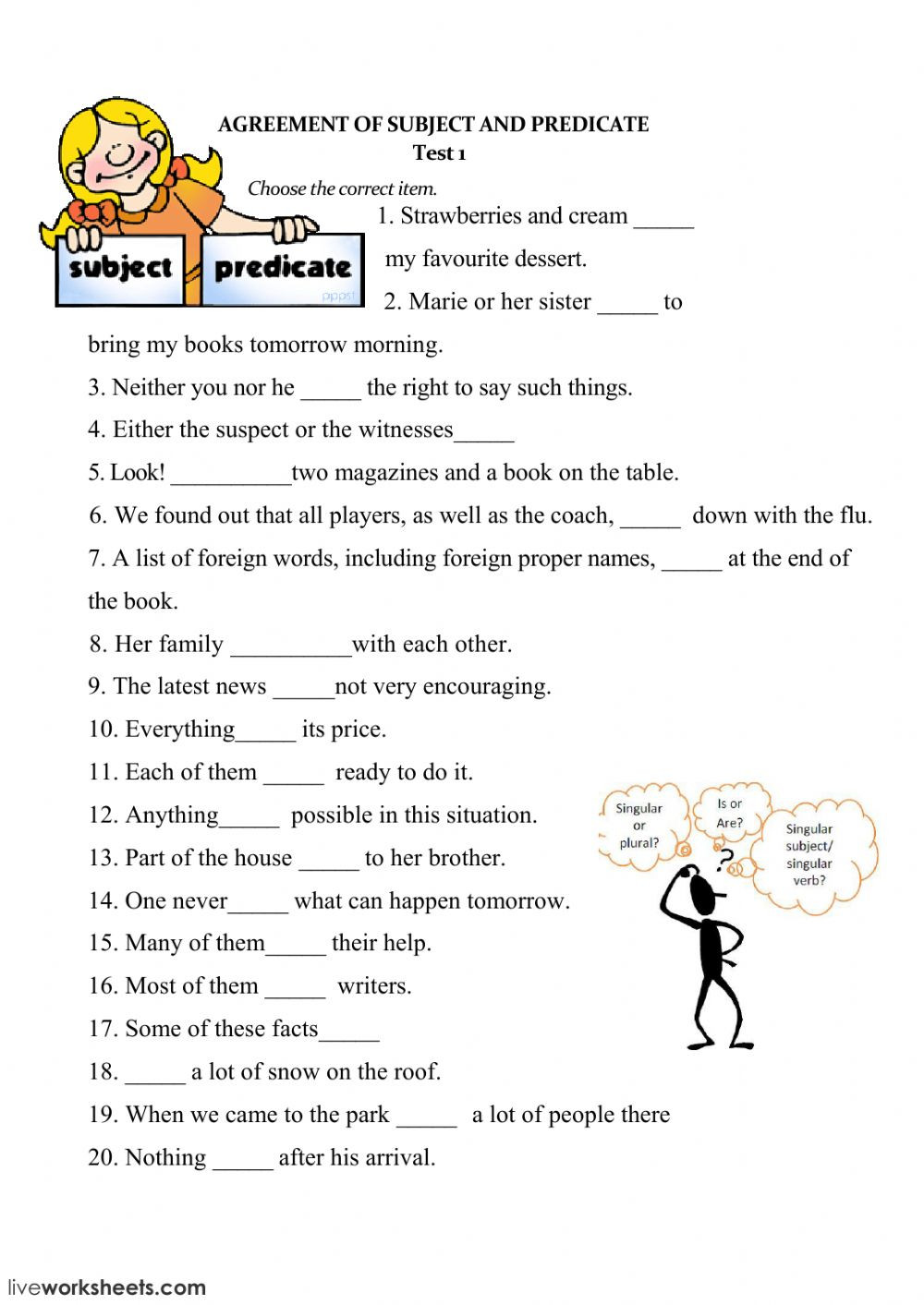 Subject Predicate Worksheet 6th Grade Subject and Verb Agreement Interactive Worksheet