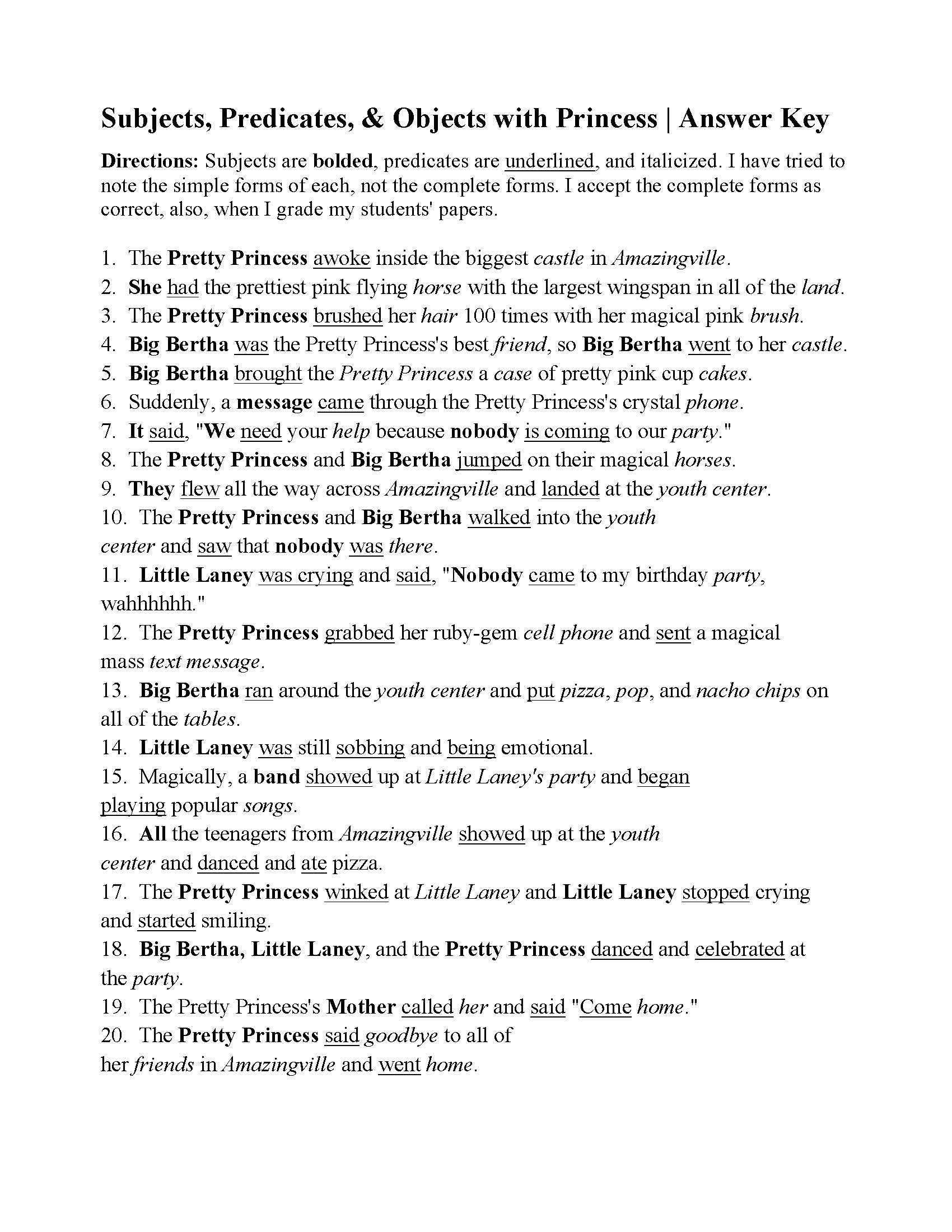 Subject Predicate Worksheet 6th Grade Subjects Predicates and Objects with the Pretty Princess