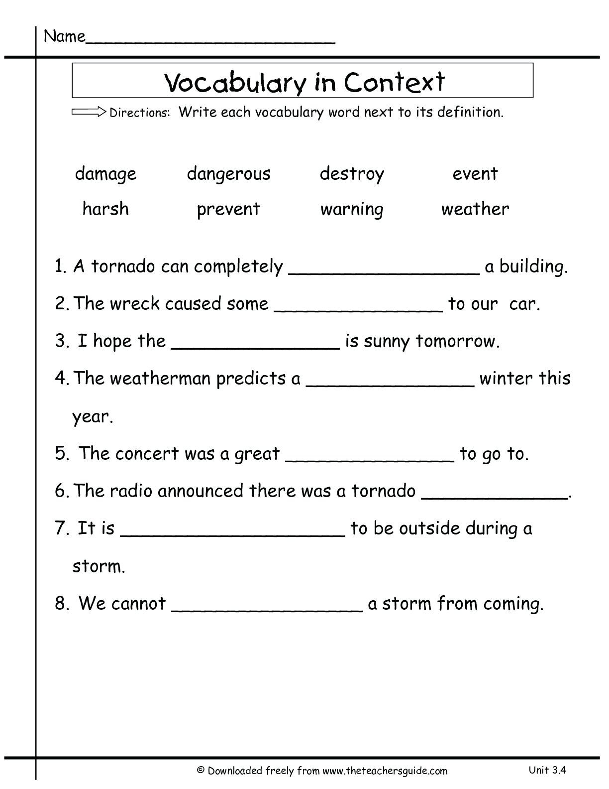 Subject Worksheets 3rd Grade 3rd Grade Vocabulary Worksheets for Educations Free Math