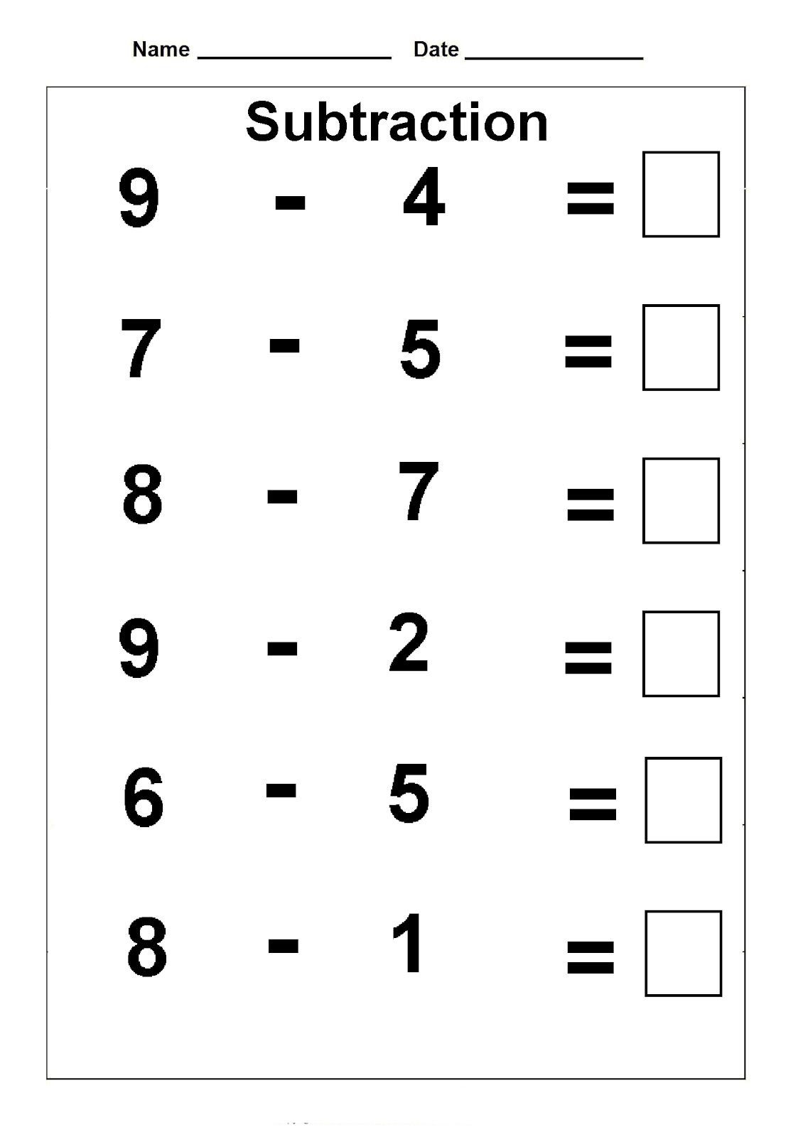 Subtraction Worksheet for 1st Grade 1st Grade Math Worksheets En 2020