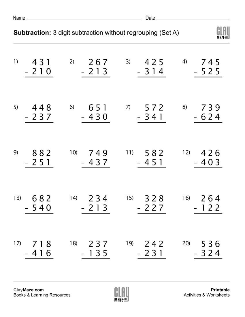Subtraction Worksheet for 1st Grade Download Our Free Printable 3 Digit Subtraction Worksheet