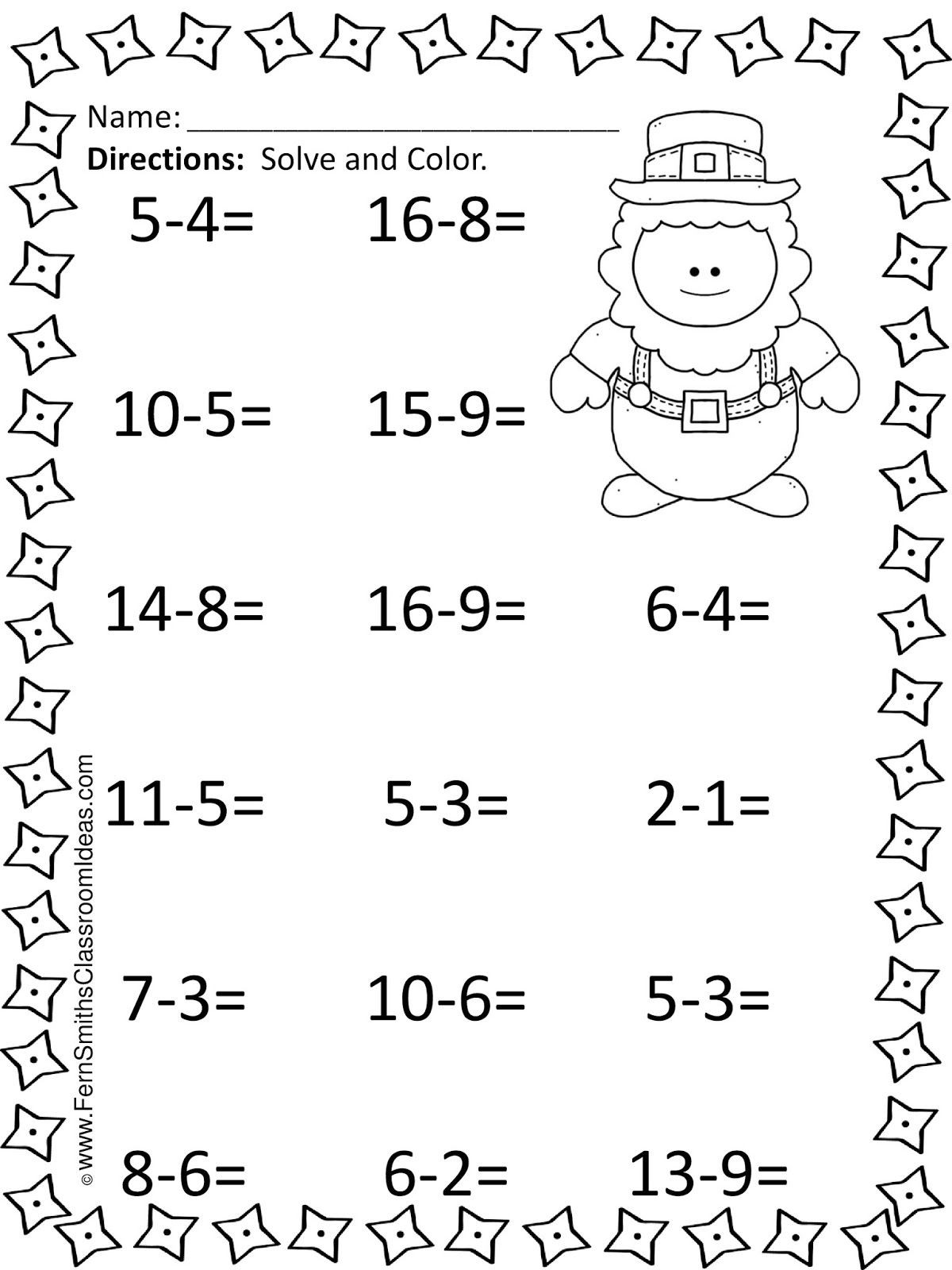 Subtraction Worksheet for 1st Grade St Patrick S Day Mixed Subtraction Task Cards and