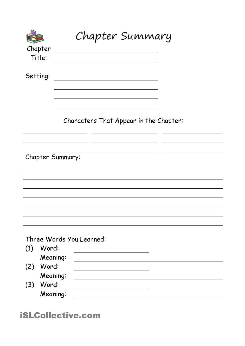 Summary Worksheets Middle School Chapter Summary
