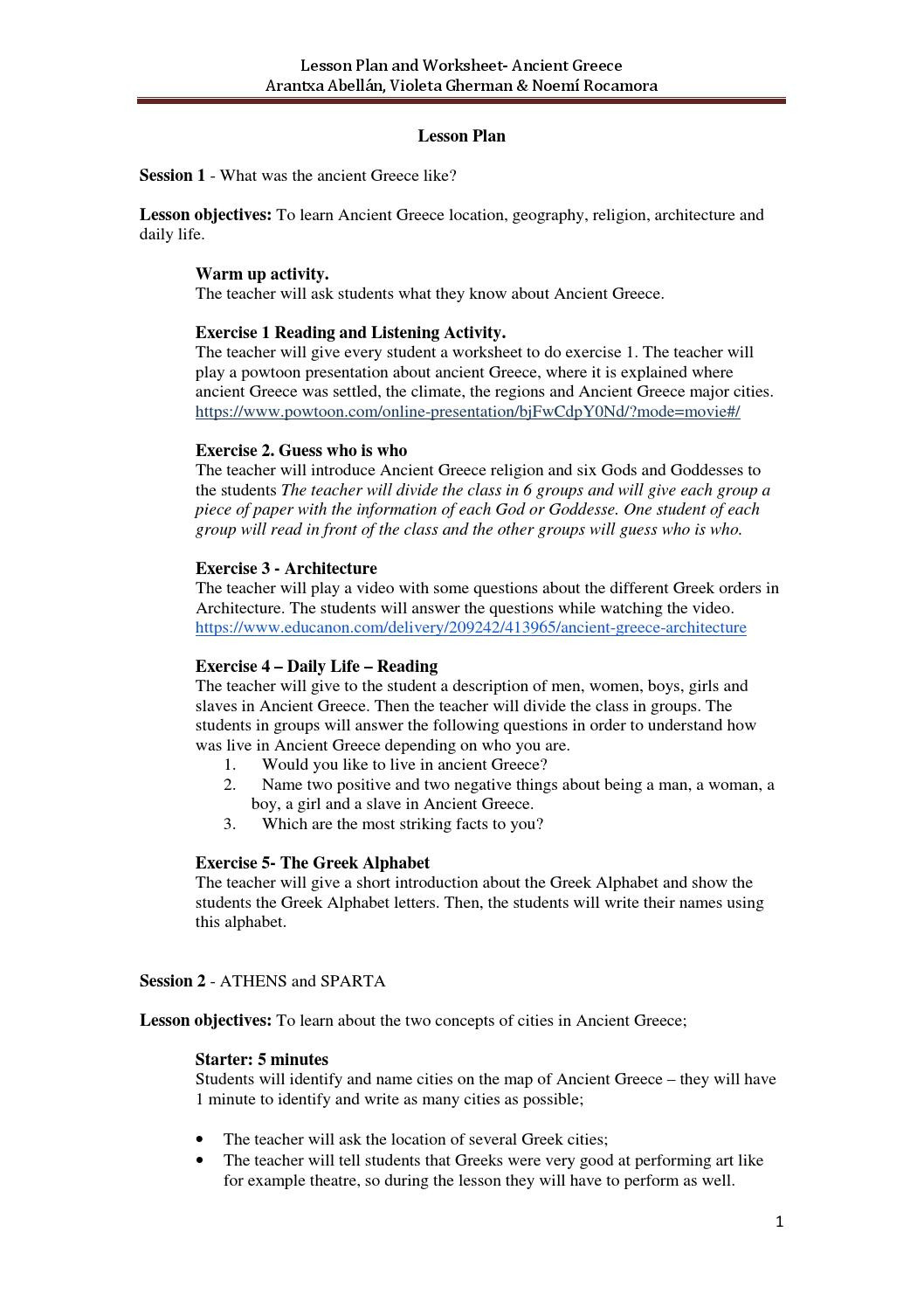 Summary Worksheets Middle School Clil Unit for 1ºeso Ancient Greec Lesson Plan and