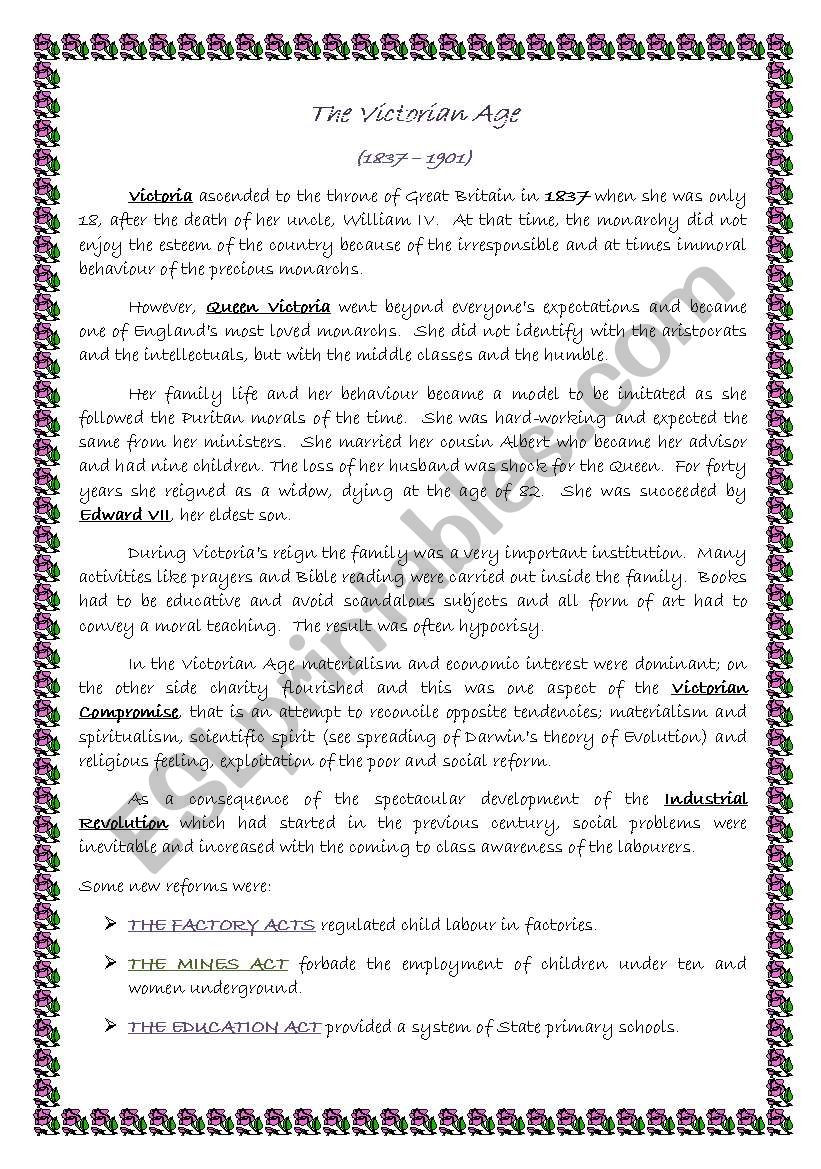 Summary Worksheets Middle School the Victorian Age Summary Esl Worksheet by Micbon77