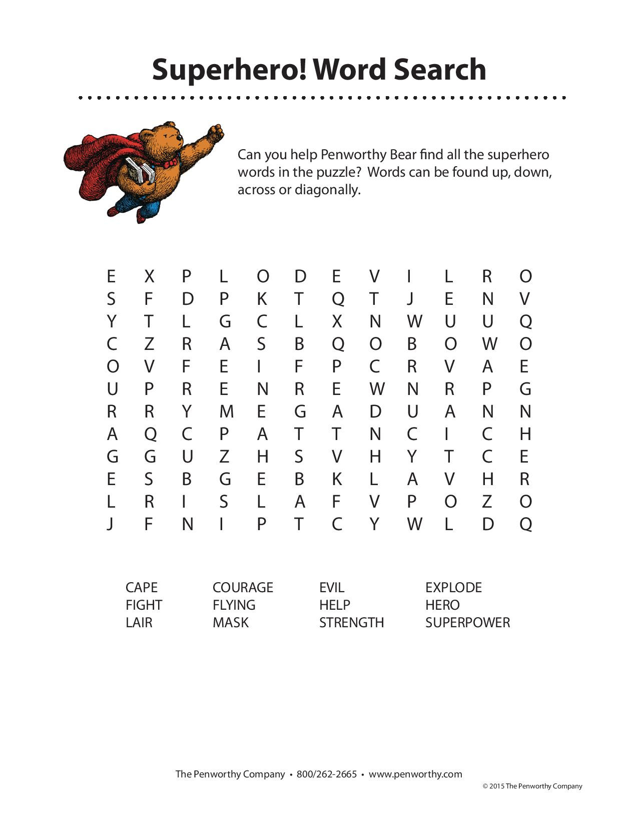 Superhero Word Search Printable 10 Superheroes Word Search Printables for All