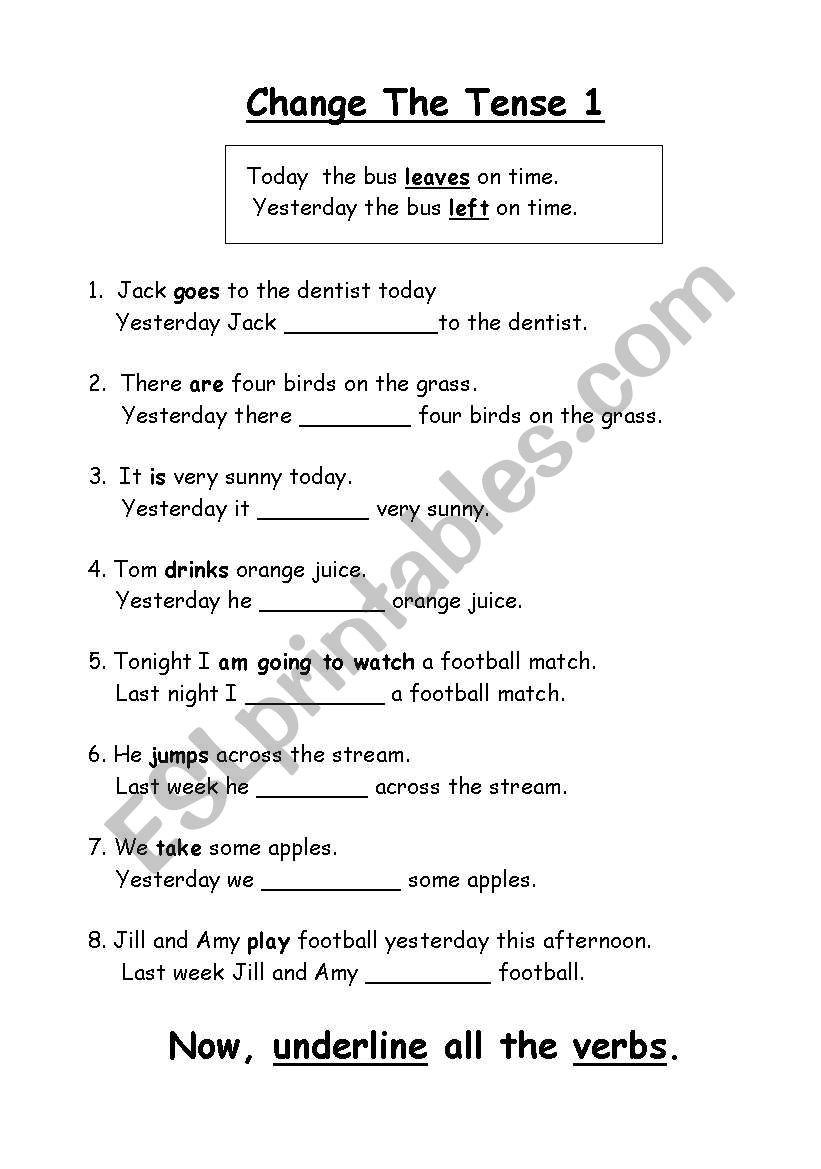 Tenses Worksheets for Grade 5 English Worksheets Change the Tense Changing 1st Grade Math