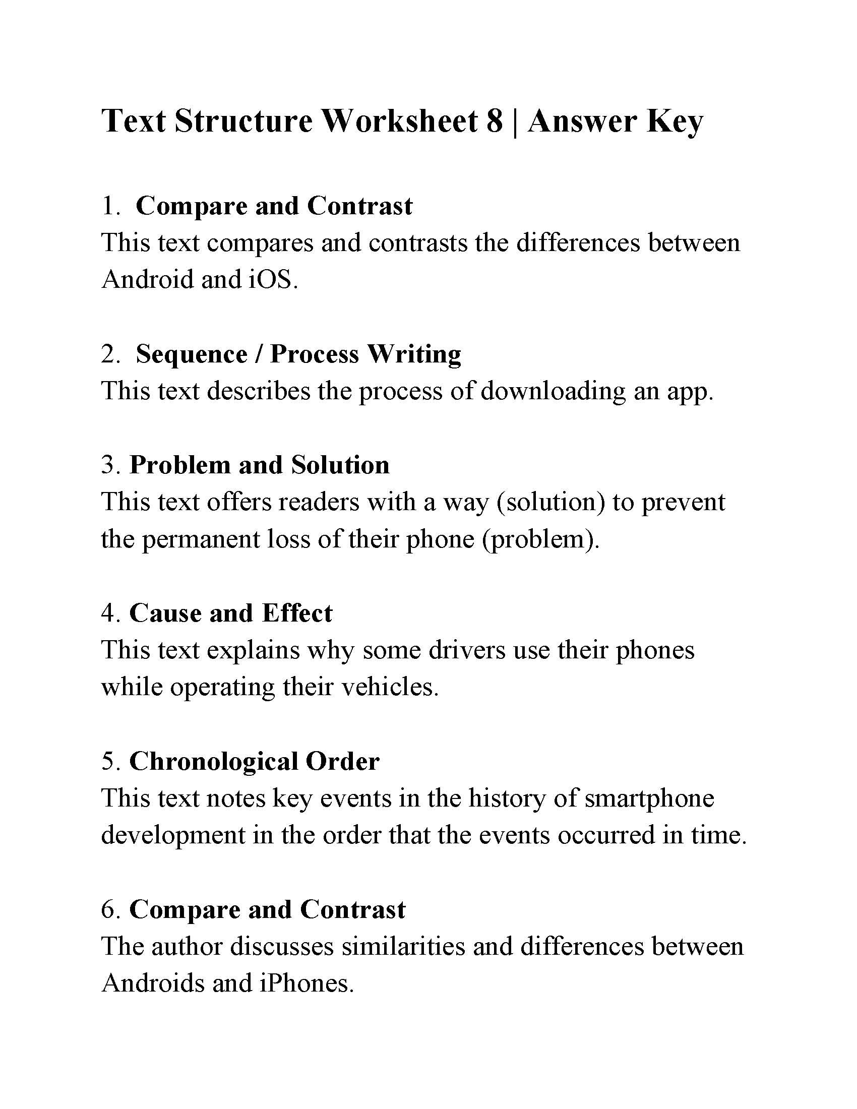 Text Structure 5th Grade Worksheets Text Structure Worksheet Answers Ereading Worksheets Number