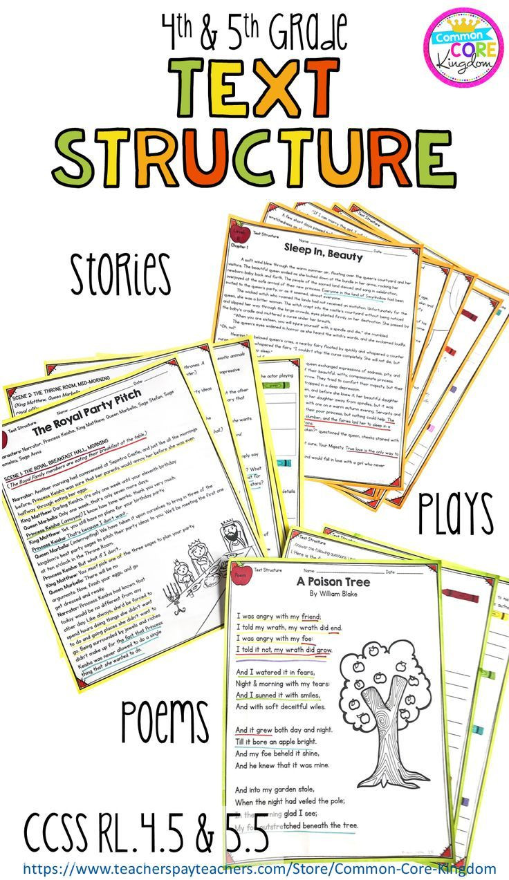 Text Structure Worksheets Grade 4 Text Structure In Stories Poems & Plays 4th & 5th Grade