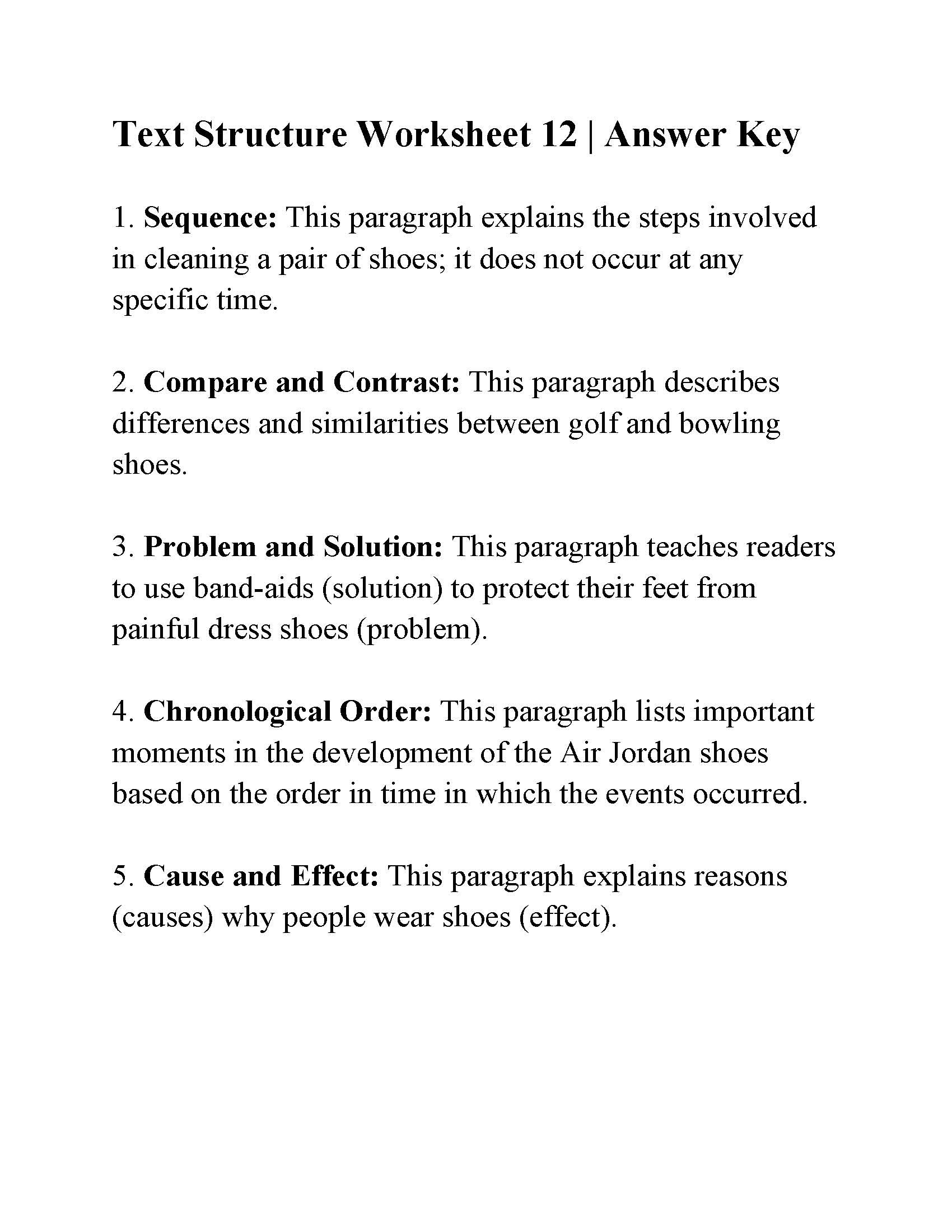 Text Structure Worksheets Grade 4 Text Structure Worksheet 12