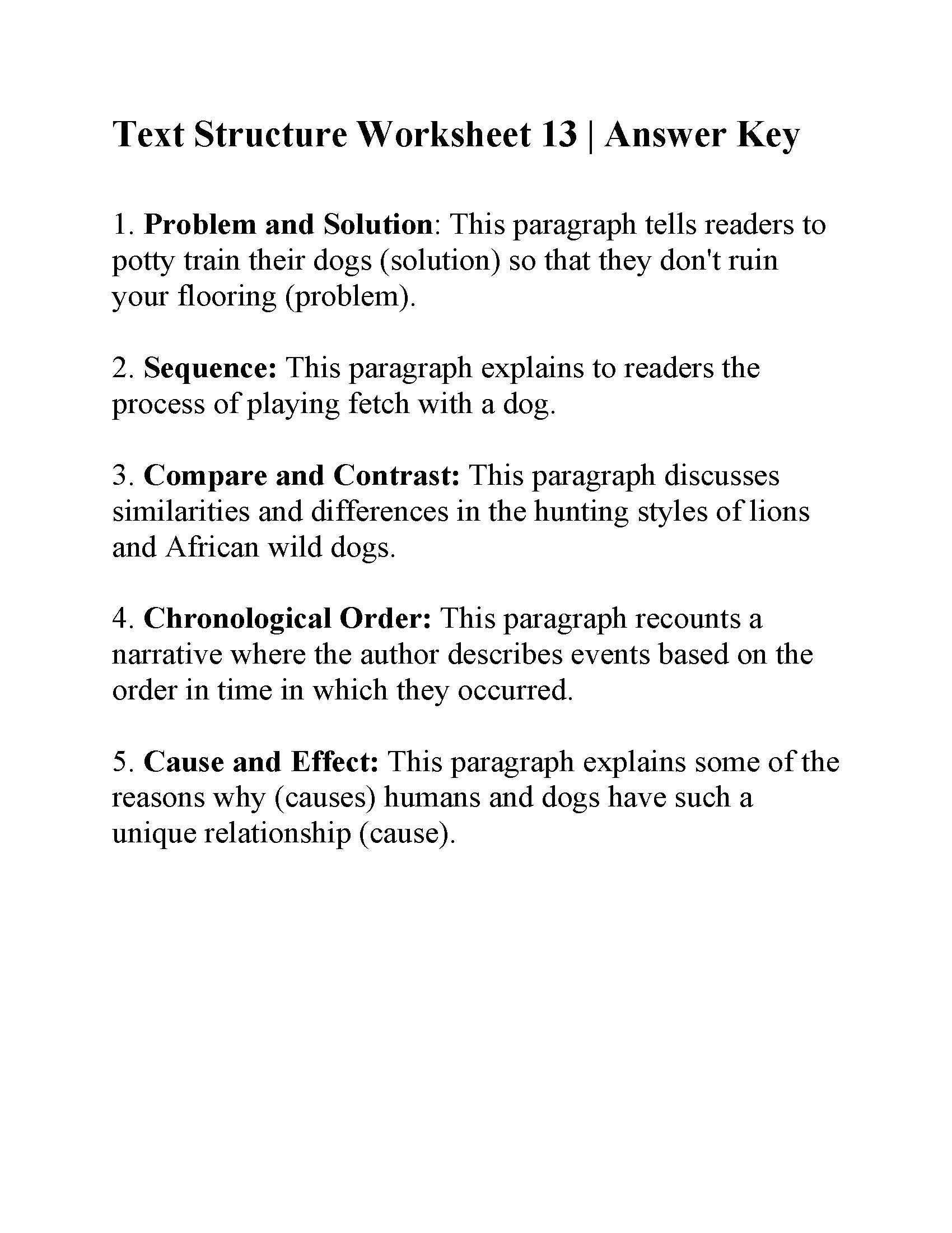 Text Structure Worksheets Grade 4 Text Structure Worksheet 13