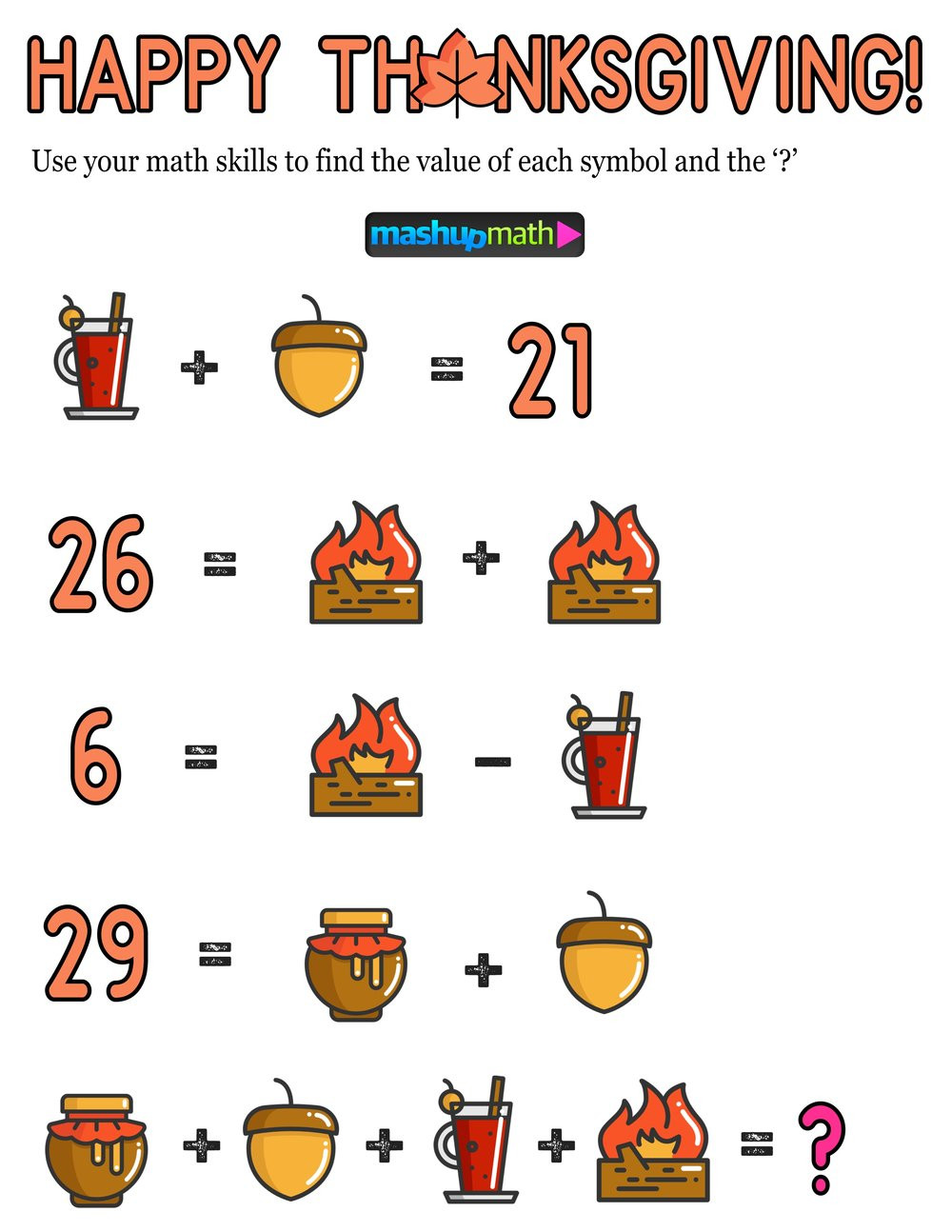 Thanksgiving Math Worksheets Middle School 12 Thanksgiving Math Activities for Grades 1 8 — Mashup Math