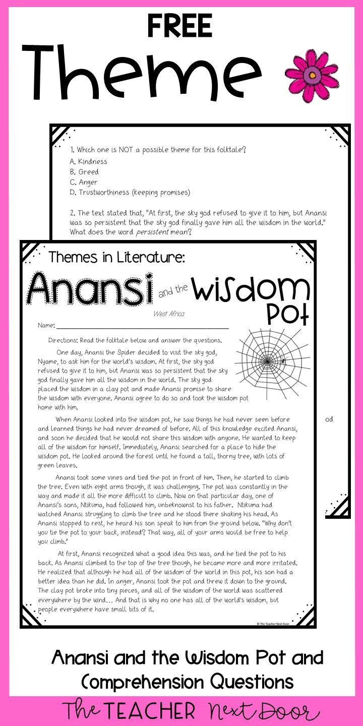 Theme Worksheets for 5th Grade theme Freebie for 4th and 5th Grades