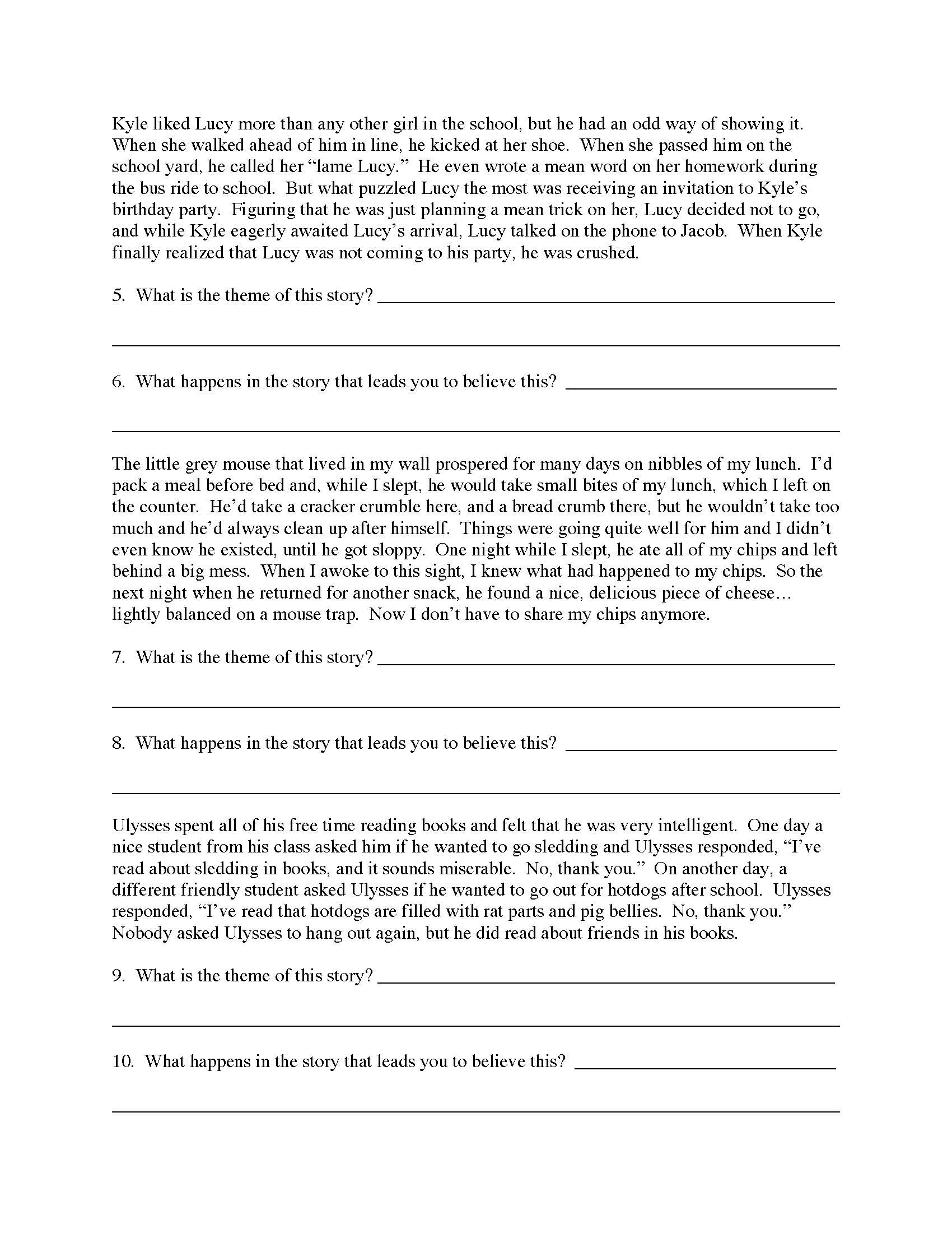 Theme Worksheets Grade 5 theme Worksheet 2