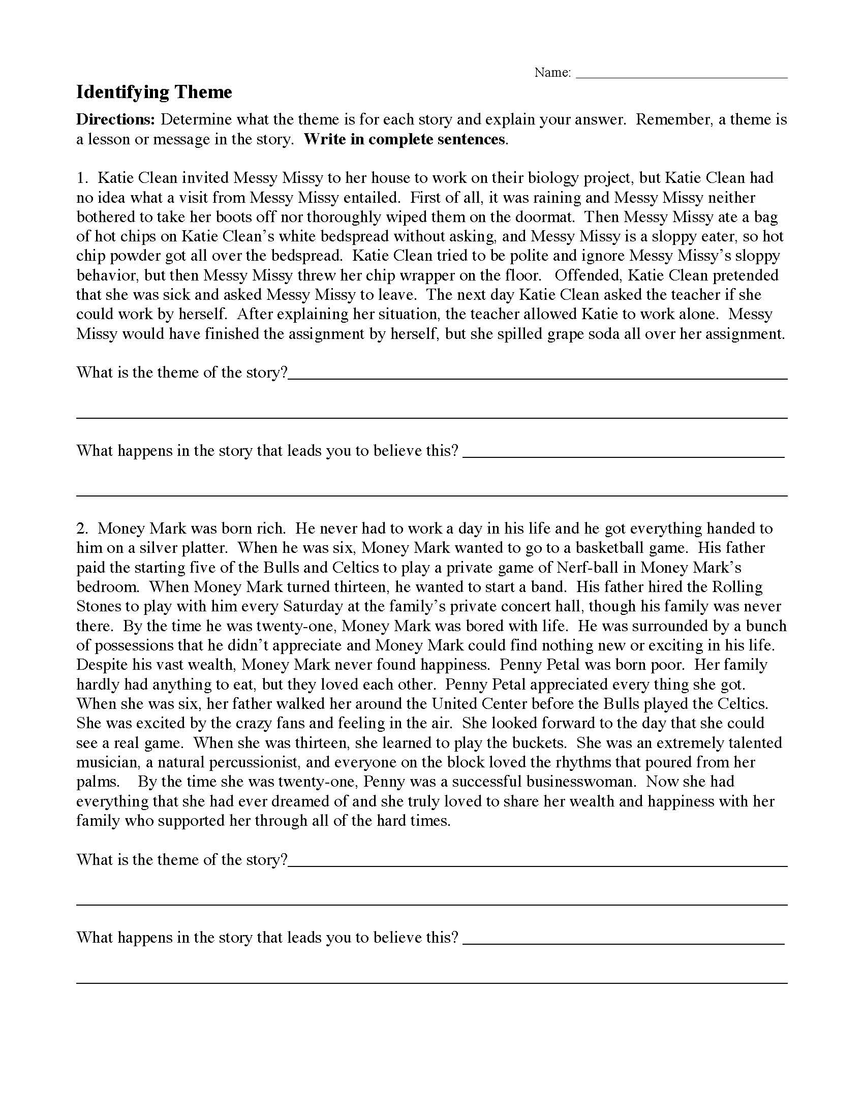 Theme Worksheets Middle School Pdf theme or Author S Message Worksheets