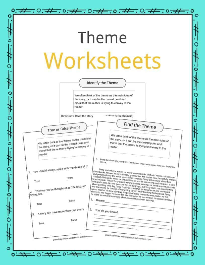 Theme Worksheets Middle School Pdf theme Worksheets Examples & Description for Kids On