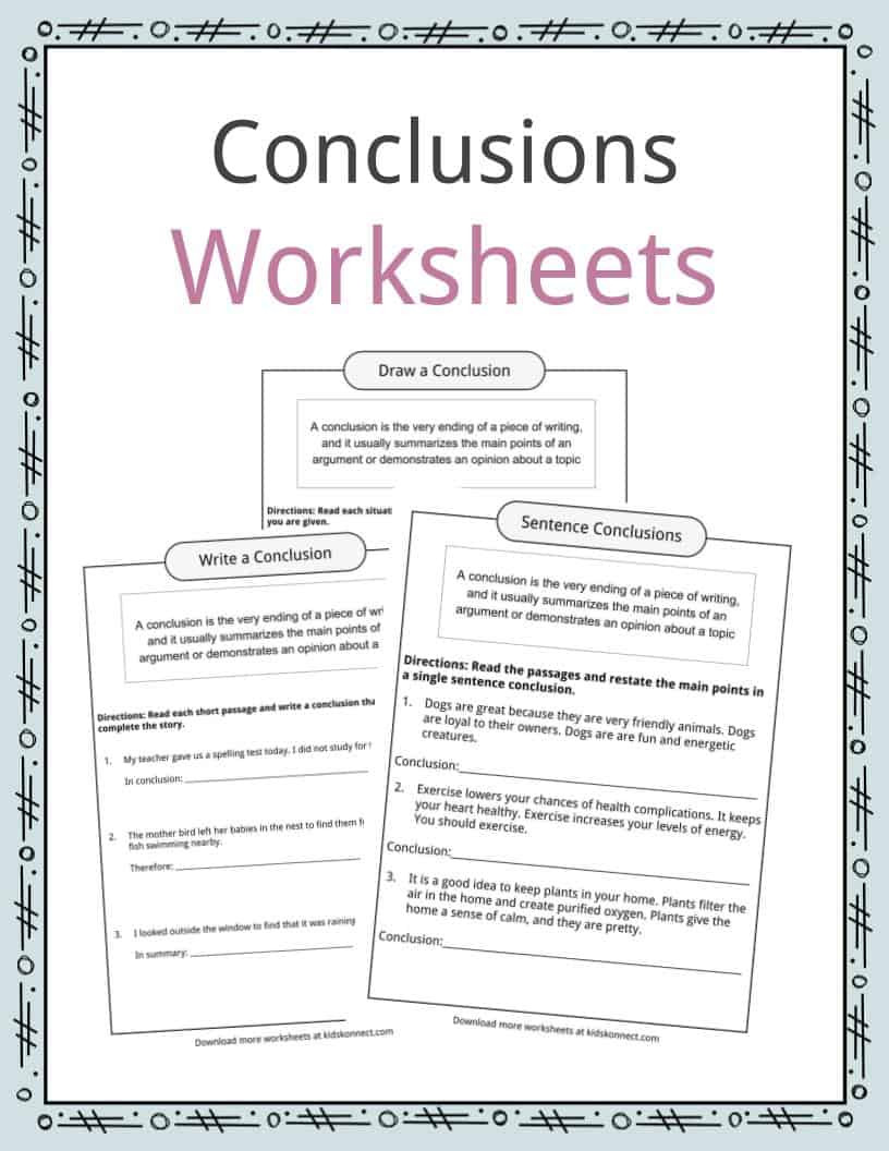 Topic Sentence Worksheets 2nd Grade Conclusion Worksheets Examples Definition & Meaning for Kids