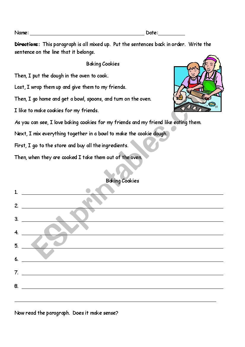 Topic Sentence Worksheets 2nd Grade Sequencing Paragraph Baking Cookies Esl Worksheet by