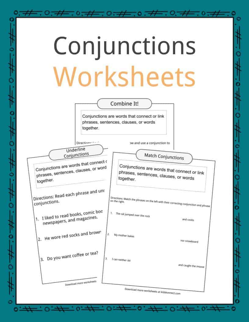 Topic Sentence Worksheets 5th Grade Conjunctions Examples Definition & Worksheets for Kids