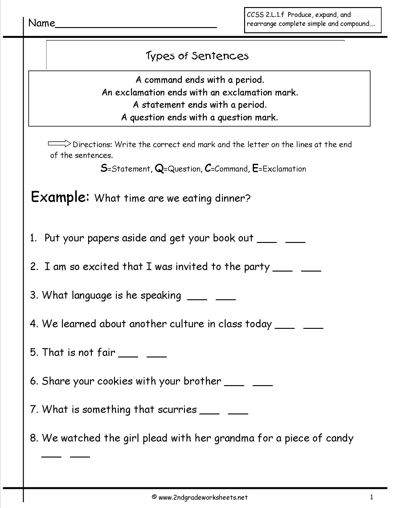 Topic Sentence Worksheets 5th Grade Second Grade Sentences Worksheets Ccss 4th Sentence