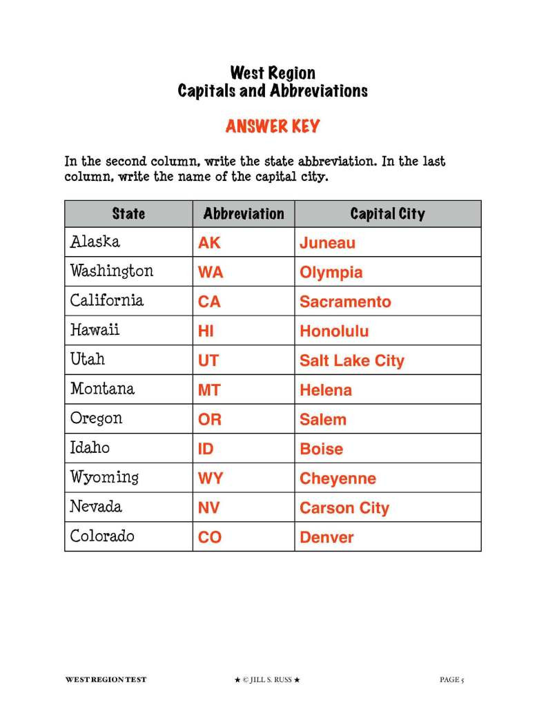 United States Capitals Quiz Printable southwest and West – Mrs Passmore S Classroom