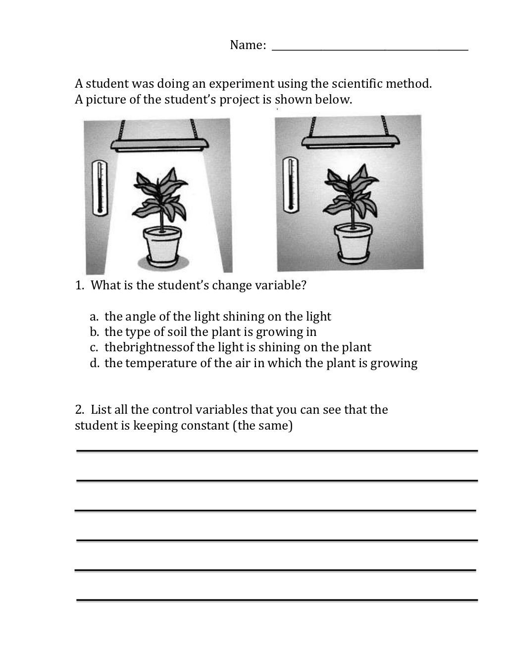Variables Worksheets 5th Grade Scientific Method Variables Worksheet by Moira Whitehouse
