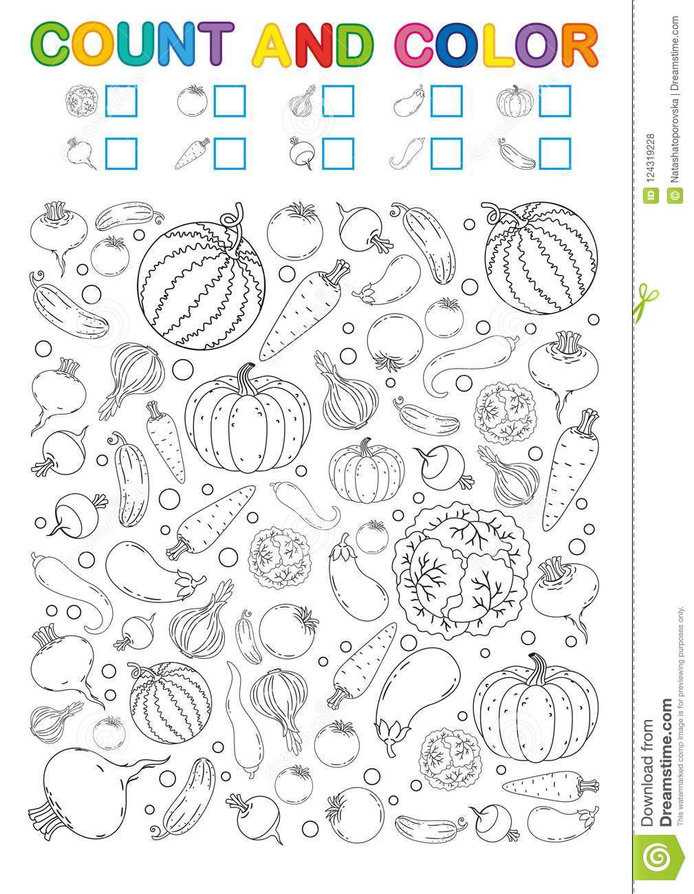 Vegetable Worksheets for Preschool Coloring Book Page Count and Color Printable Worksheet for