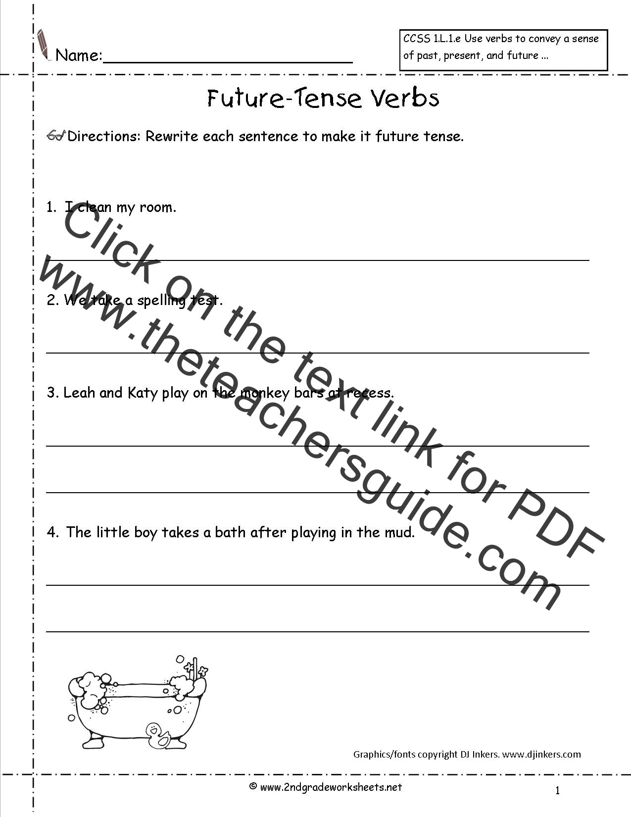 Verb Tense Worksheets 1st Grade Future Tense Verbs Worksheet