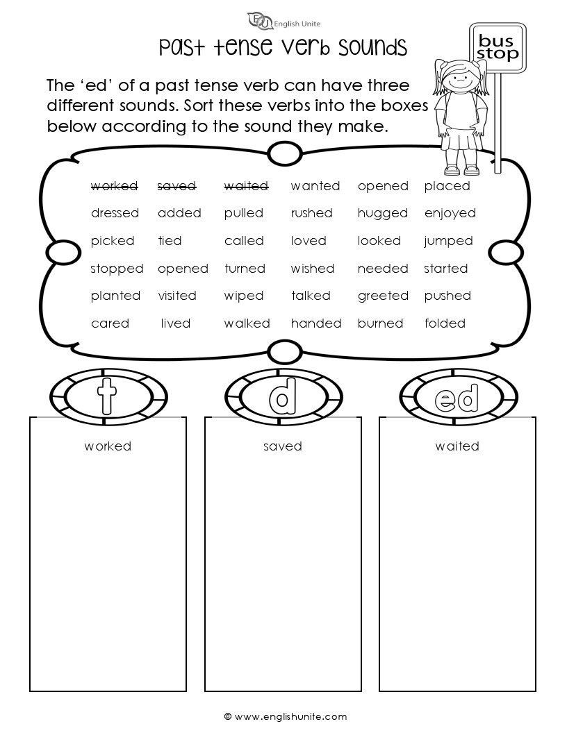 Verb Tense Worksheets 1st Grade Past Tense Verb sounds Worksheet
