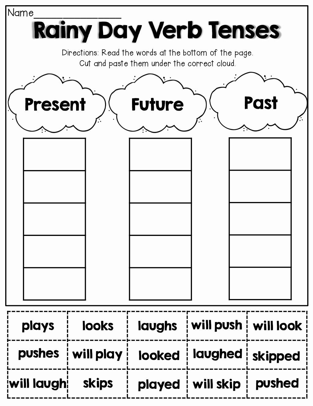 Verb Tense Worksheets 1st Grade Pin On Esl