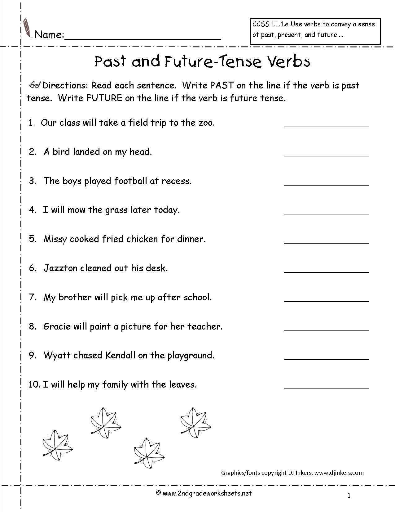 Verb Tense Worksheets 1st Grade Second Grade Verb Worksheets