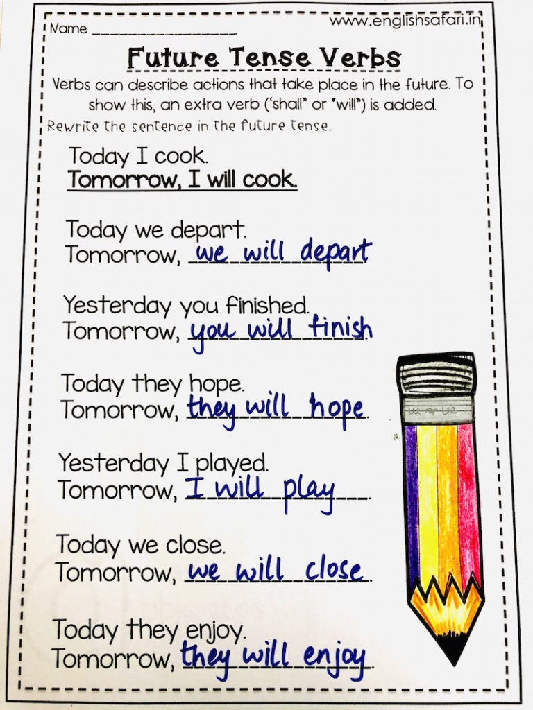 Verb Tense Worksheets 1st Grade Simple Future Tense Worksheets Free