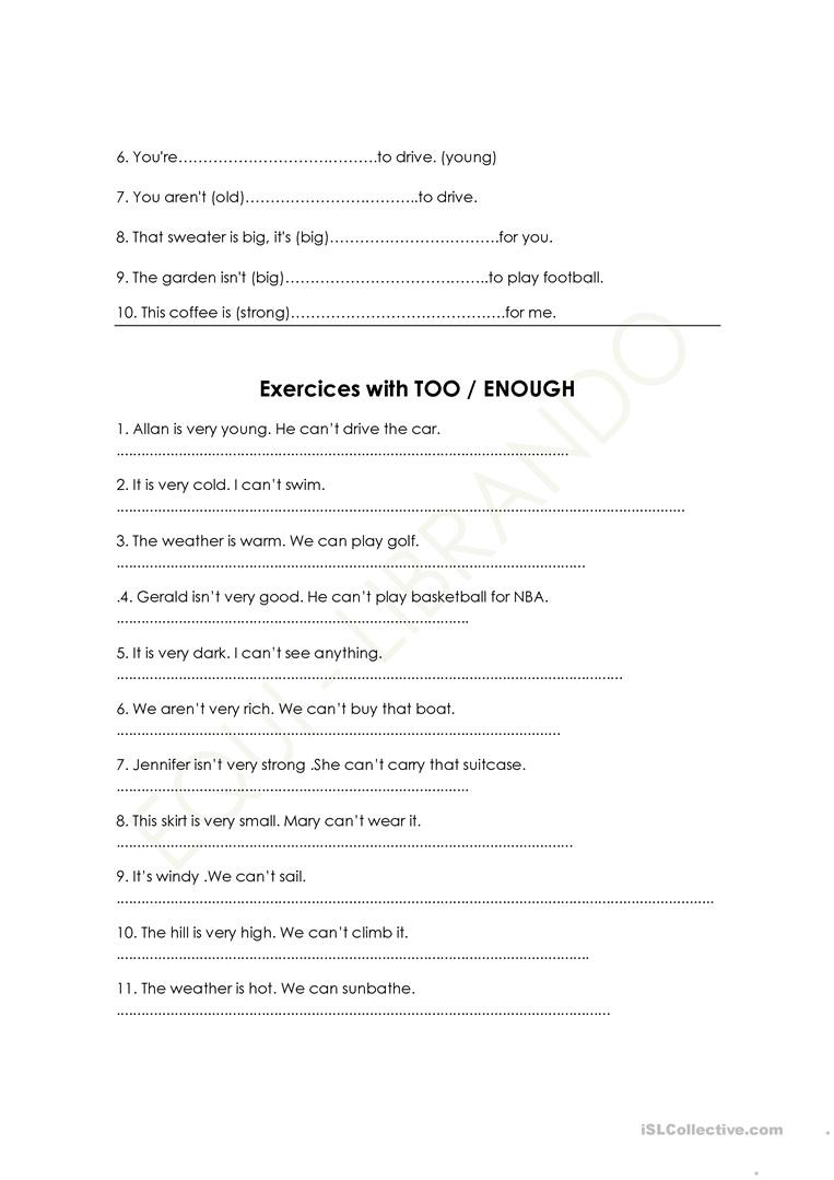 Verbs Worksheet 4th Grade too Adjective Not Enough English Esl to Verb Worksheets